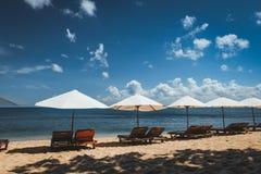 Зонтики вдоль пляжа стоковые изображения rf
