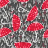 Зонтики и сердца в картине дождя безшовной Стоковые Изображения