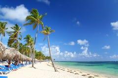 зонтики курорта стулов пляжа карибские Стоковое Изображение