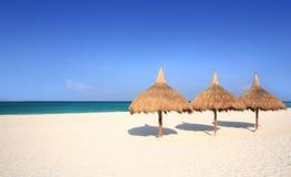 зонтики курорта травы пляжа Стоковое Изображение