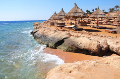 Зонтики навеса на пляже с навесами соломы parsols и деревянными sunbeds перед бирюзой на пляже Красного Моря Стоковое фото RF