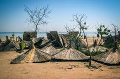 Зонтики на пляже Стоковые Фото