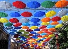 Зонтики цвета в небе, Санкт-Петербурге Стоковая Фотография RF