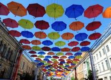 Зонтики цвета в небе, Санкт-Петербурге Стоковое фото RF