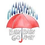Зонтик акварели красный под дождем Стоковое Изображение