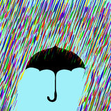Зонтик в красочном дожде Стоковые Фото