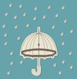 Зонтик в дожде Стоковое Фото