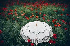 Зонтик в поле маков Художническое толкование Стоковая Фотография RF