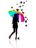 зонтик девушки вниз Иллюстрация вектора