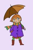 зонтик девушки сь вниз Стоковое Изображение RF