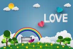 Зонтик дня ` s валентинки с стулом раздувает в летать сформированный сердцем над предпосылкой взгляда травы, бумажным стилем иску иллюстрация вектора