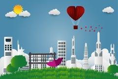 Зонтик дня ` s валентинки с стулом раздувает в летать сформированный сердцем над предпосылкой взгляда травы, бумажным стилем иску бесплатная иллюстрация