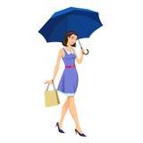 зонтик девушки вниз бесплатная иллюстрация