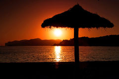 Зонтик захода солнца Стоковое Фото