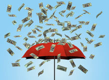 Зонтик и долларовые банкноты 3D Стоковые Изображения