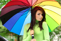 зонтик лета девушки стоковое фото rf