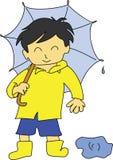 зонтик мальчика Стоковое Изображение