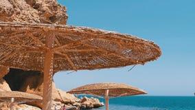 Зонтик на пляже коралла с утесами и камнями в Египте на Красном Море видеоматериал