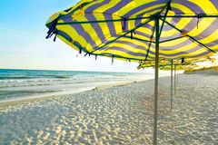 Зонтик на пляже стоковое фото rf