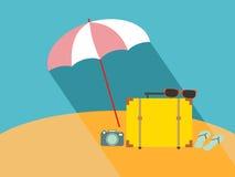Зонтик на пляже Стоковые Фото