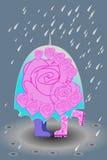 зонтик пар любящий вниз иллюстрация штока
