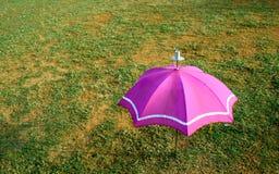 зонтик пинка зеленого цвета травы Стоковая Фотография RF