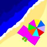зонтик полотенца тапочек пляжа стоковое изображение rf