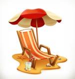 Зонтик пляжа и кресло для отдыха, значок вектора иллюстрация вектора