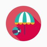 Зонтик пляжа с значком шарика плоским с длинной тенью Стоковое Фото
