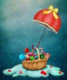 Зонтик рождества бесплатная иллюстрация