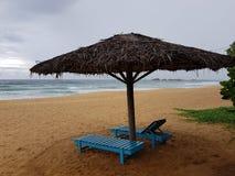 Зонтик соломы с деревянными loungers солнца на пляже Индийского океана Стоковая Фотография RF