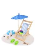 зонтик стула пляжа изолированный Стоковая Фотография