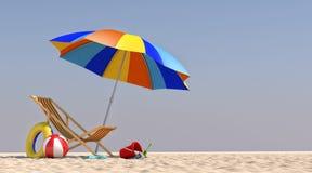 зонтик стула иллюстрации 3D на пляже Стоковое Изображение RF