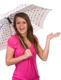 зонтик удерживания девушки Стоковая Фотография RF