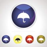 зонтик цветастой иконы кнопки установленный Стоковое фото RF