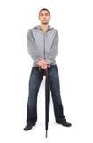 зонтик человека стоящий Стоковая Фотография RF