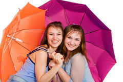 зонтик lwith 2 девушок Стоковые Фотографии RF
