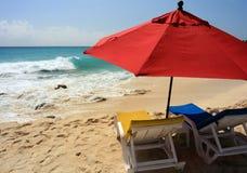зонтик st maarten пляжа Стоковая Фотография