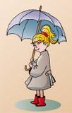 Зонтик witn девушки иллюстрация вектора
