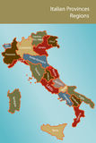 зоны провинций карты Италии Стоковое Фото