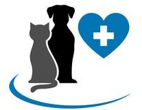 Зооветеринарный значок с голубыми сердцем, любимчиками и крестом иллюстрация вектора