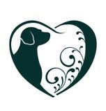 Зооветеринарный логотип влюбленности собаки сердца Стоковые Изображения