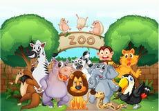Зоопарк и животные иллюстрация штока