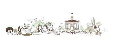 Зоопарк, иллюстрация парка Safary, собрание города Стоковые Фото