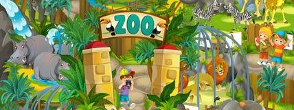 Зоопарк шаржа - парк атракционов - иллюстрация для детей Стоковое фото RF