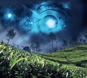 Зодиак астрологии на ночном небе Стоковая Фотография