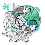зодиак знака pisces Круг гороскопа акварель Стоковая Фотография