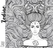 Зодиак: знак зодиака рака как красивая девушка Illustrat вектора иллюстрация вектора