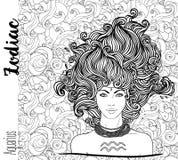 Зодиак: Иллюстрация знака зодиака водолея как красивая девушка бесплатная иллюстрация