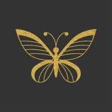 Золотая бабочка с элегантной декоративной картиной иллюстрация вектора